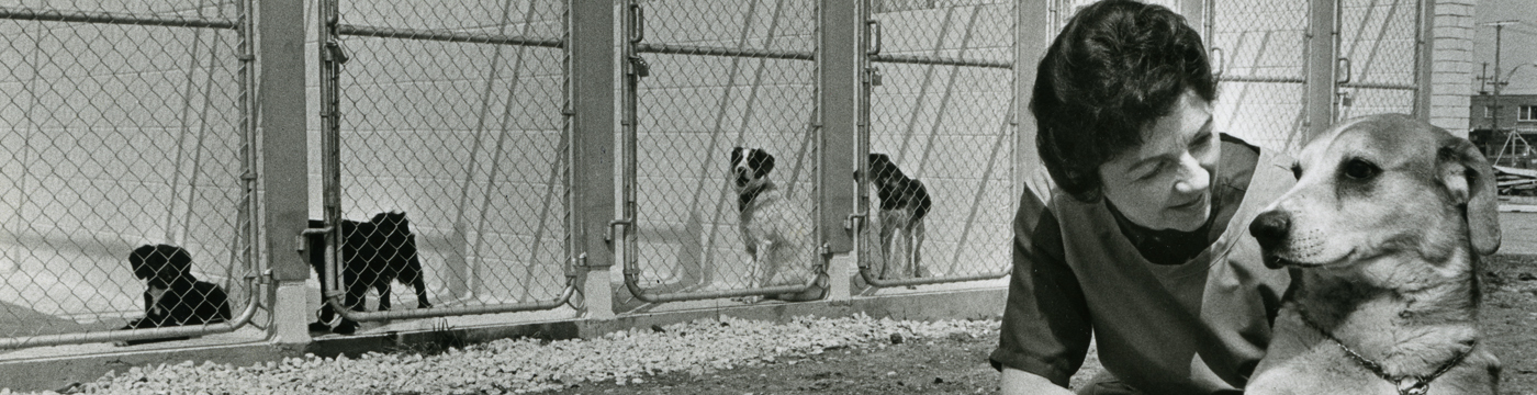 historical photo of woman helping dog